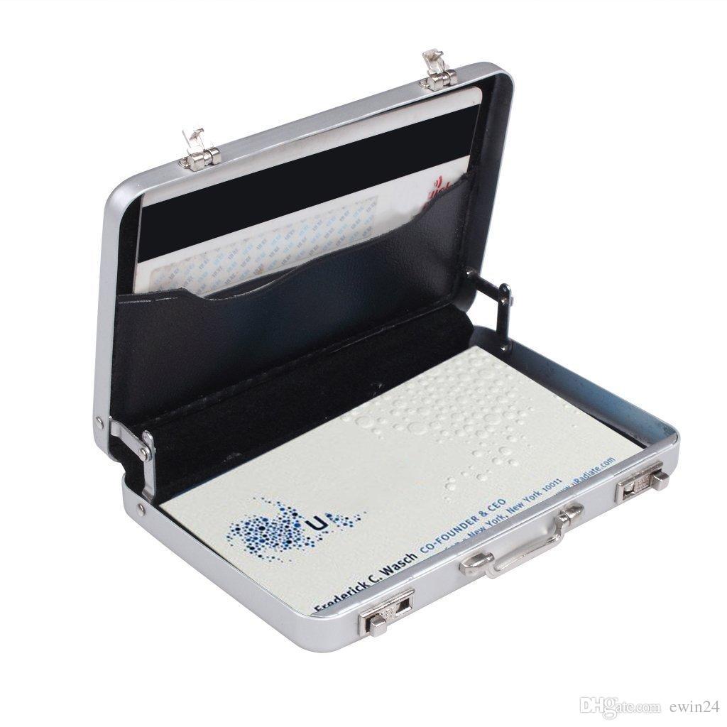 Metal Mini Valigetta Valigia Business Bank Card Nome Porta carte di credito Scatola Case Regalo di Natale Biglietto da visita in alluminio