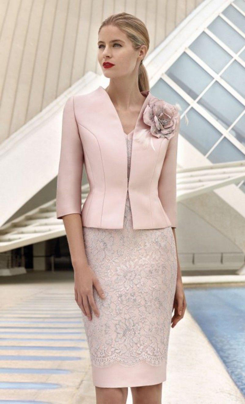 Rosa Mutter der Brautkleider mit Jacke Spitze Appliziertes Hochzeit Gastkleid Knielänge Kurze Mütter Formale Outfit
