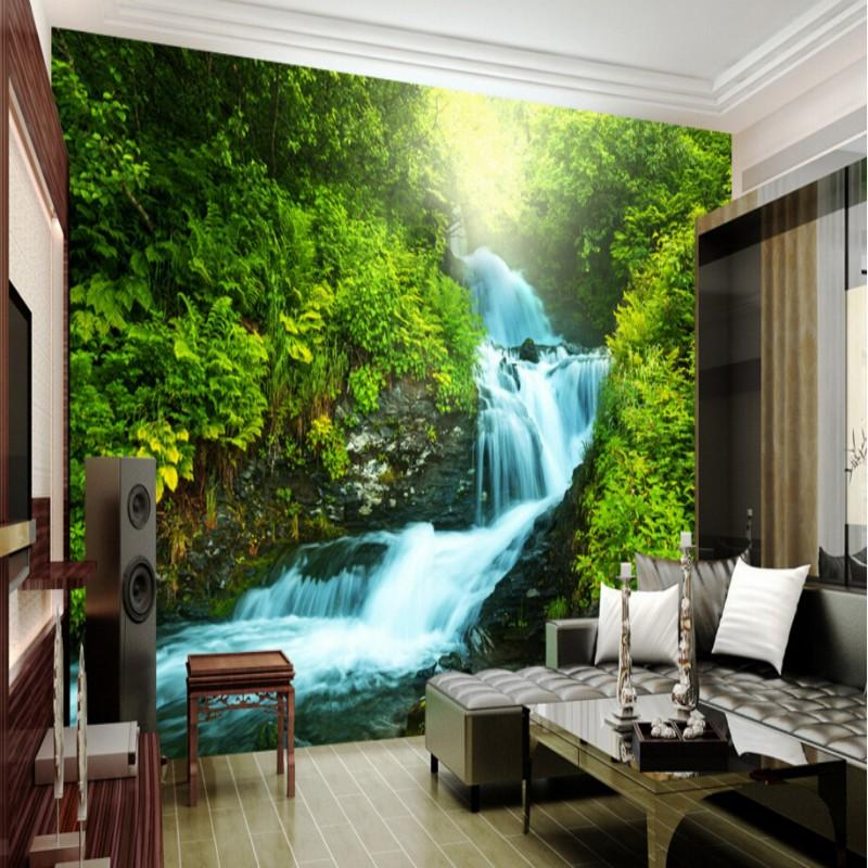 Wholesale Custom Nature Wallpaper 3d Stereoscopic Photo Wall Living Room Backdrop Waterfalls Landscape 2 Hd High Resolution