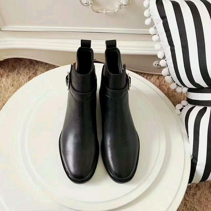 2017 New Womens Knight Boots Neckline mink hair decoration Platform Ankle Boots Genuine Leather Buckle Designer Luxury Winter print Shoes