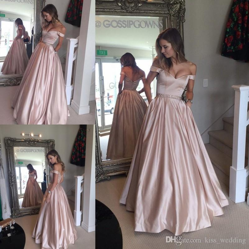 ec13dced2e1 2017 Hot Sales Glamorous Satin Prom Dresses Off Shoulder Floor Length  Sleeveless Evening Gowns Backless V Neck Pockets Bridesmaids Dress Ball  Gown Prom ...