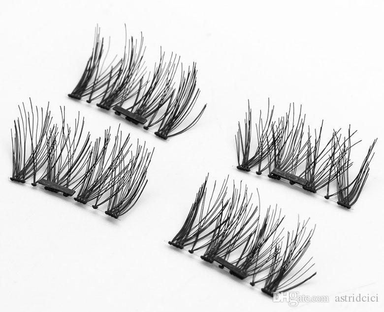 Double Magnet 3D Magnetic False Eyelashes Full Strip Magnetic Eyelash Lashes Black Soft Hair Reusable Fake Eye Lashes Extension CT08-2