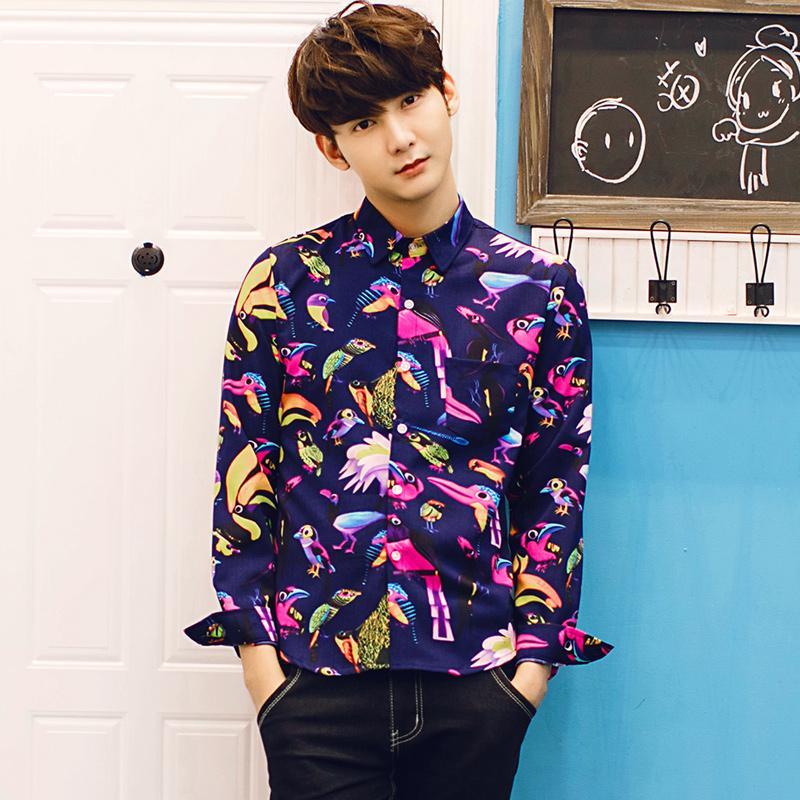 2018 Wholesale 2016 2017 New Spring Men Fashion Floral Shirts Men ...