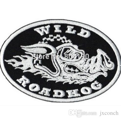 "3.5"" ROADHOG WILD HOGS Embroidered Motorcycle Biker Vest Iron On Patch Back of Jacket applique wholesale dropship"