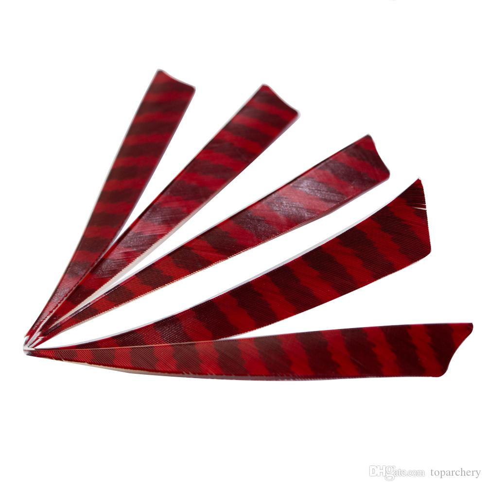 5'' Right Wing Feathers for Glass Fiber Bamboo Wood Archery Arrows Hunting and Shooting Shield Red-black Fletching
