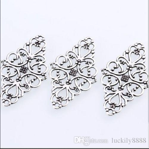 Antique Silver Hollow Filigree Flower Connectors Charms For Jewelry Making Finding 41x24mm