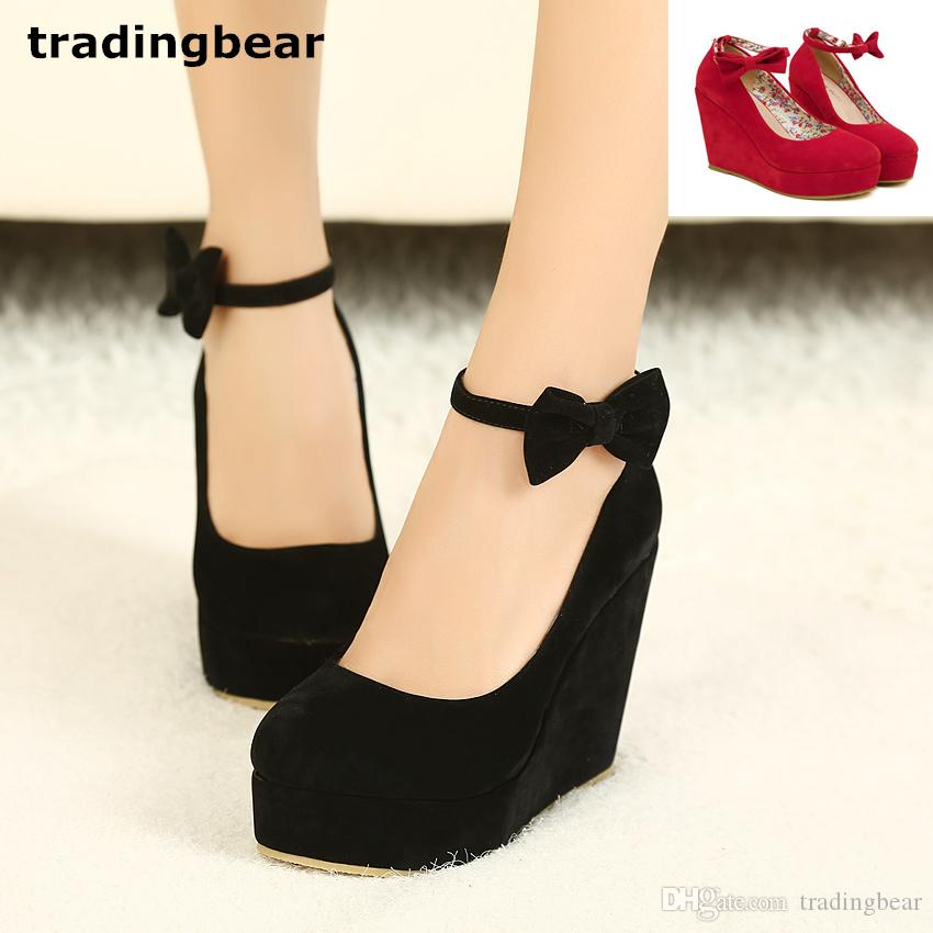 ebfe5df6722 Black Bowtie Plarform Wedges Womens Red Ankle Strap High Heel Wedding Shoes  Size 35 To 39 Moccasins For Men Suede Shoes From Tradingbear