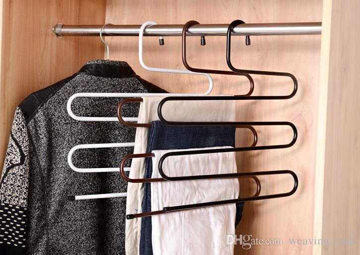 Multifunction Clothes Hanger S Shape 5 Layers Stainless Steel Towel Clothes Pants Holder Rack Hangers
