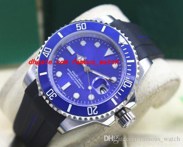 Top Qualität Luxus Armbanduhr Gummiarmband 116619 WEISSES GOLD BLUE Keramik BEZEL / DIAL 40MM Automatische Mechanische Herrenuhren Neue Ankunft