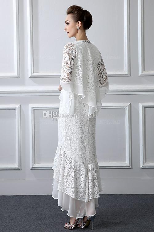 Formal Lace Mother Of the Bride Suits Long sleeves Sheath High Low Plus Size Mother Dress With Coat Evening Gowns Cheap