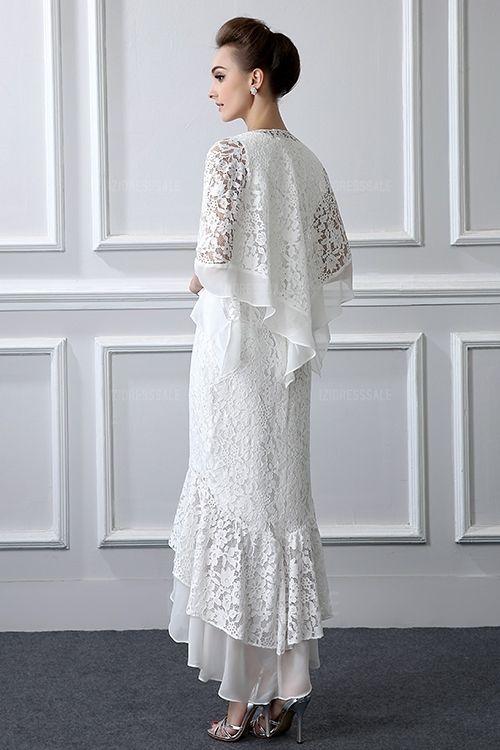 2 piezas de encaje formal de la madre de la novia trajes de manga larga vaina Alto Bajo Tallas grandes Vestido de madre con abrigo vestidos de noche baratos