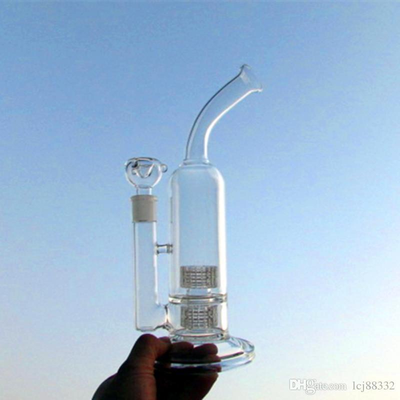 Glass Bong Ölplattformen Double Stereo Matrix Perc schwere Basis Fab Wasserpfeifen mit famale Joint 18.8mm Schüssel