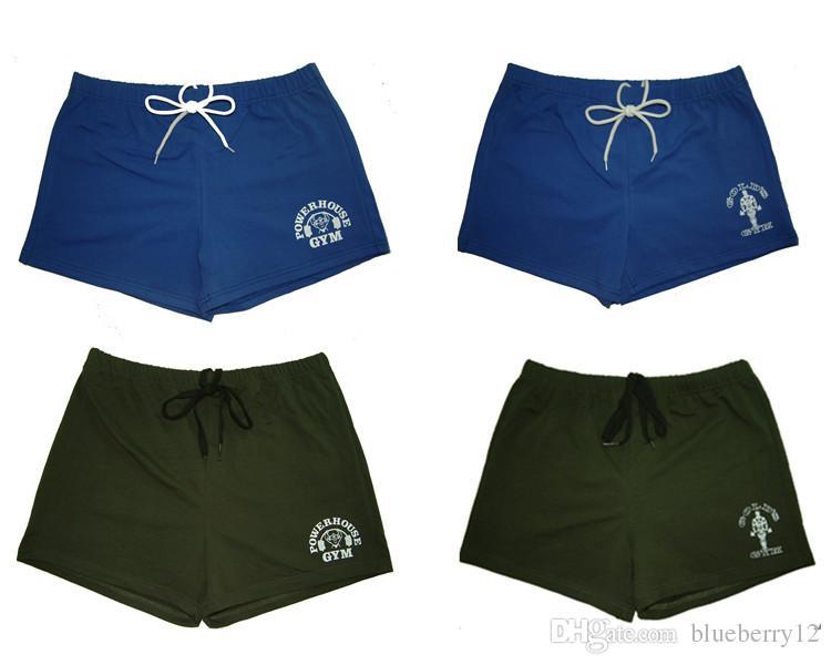 Marca el 100% hombres del algodón Gym Pantalones cortos Pantalones cortos de oro central eléctrica aptitud de los hombres de culturismo entrenamiento del entrenamiento deportivo Pantalones cortos para correr
