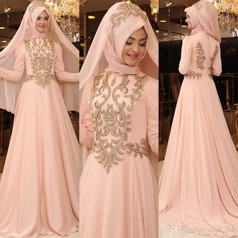 Blush Pink Muslim Prom Dresses High Neck Appliques Chiffon Long Sleeves Evening Gowns A Line Back Covered Button Formal Cocktail Dress