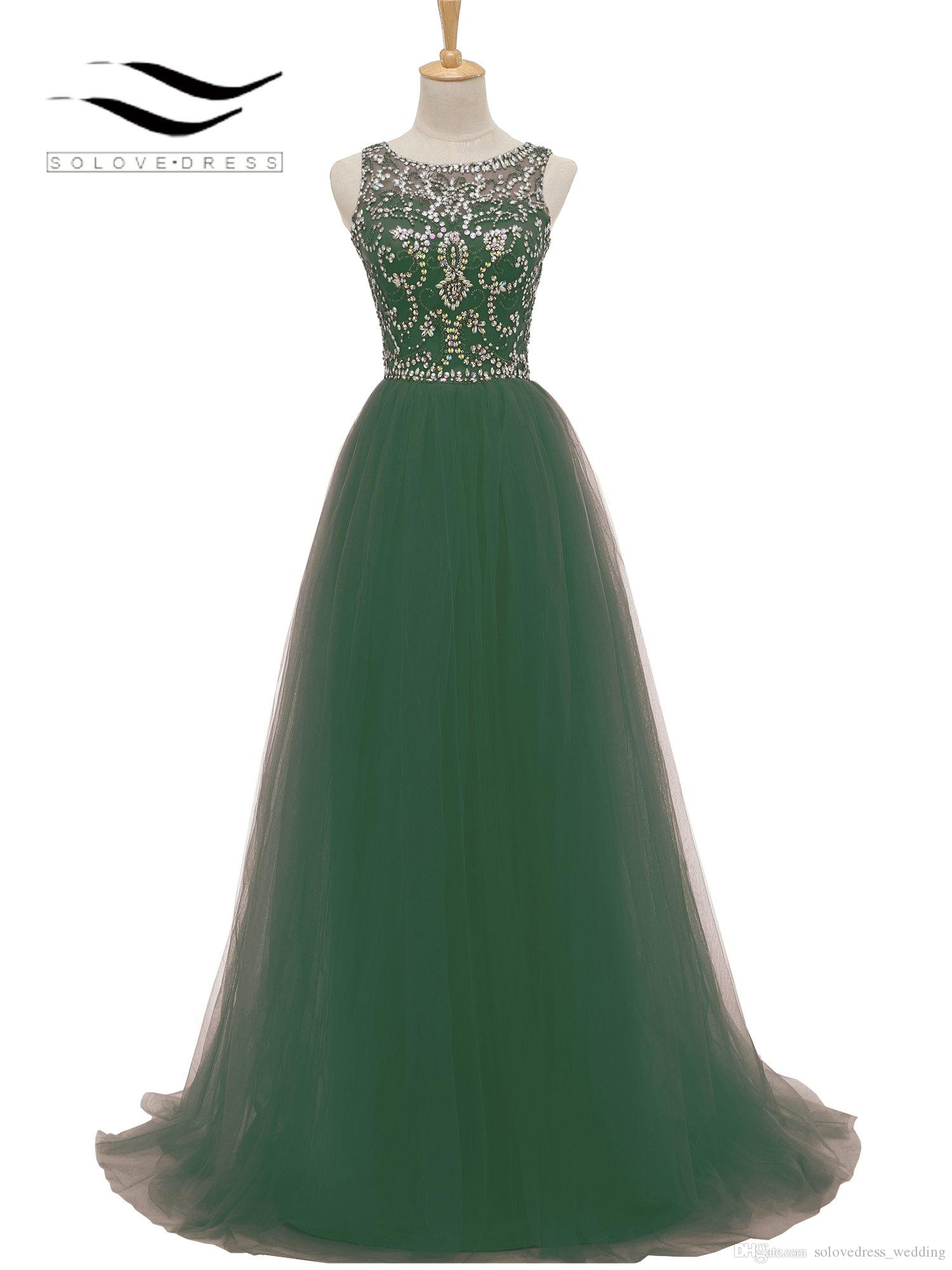 New Solovedress Sweep Train Real Photo Beaded Stones Tulle A Line Prom Dress Party Evening Gown Vestidos De fieste