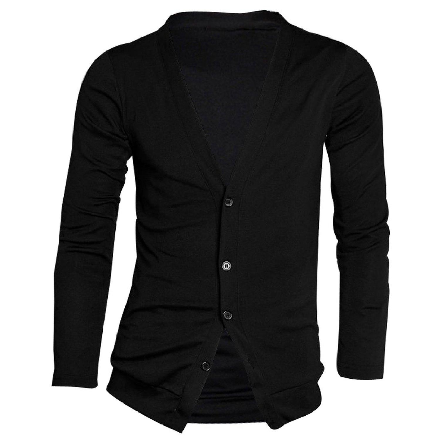 bd35f97f 2019 Wholesale Men Deep V Neck Long Sleeve Casual Slim Button Down  Cardigans Shirts From Maluokui, $26.32 | DHgate.Com