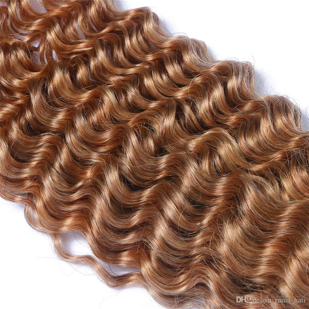 #1B 27 Honey Blonde Ombre Peruvian Human Hair With Closure Deep Curly Two Tone Colored Peruvian Human Hair 3Bundles With 4x4 Lace Closure