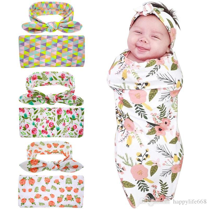 Europe Hot-sale Newborn Baby Swaddle Blankets Headband Set With ... 6e58a8fc5206