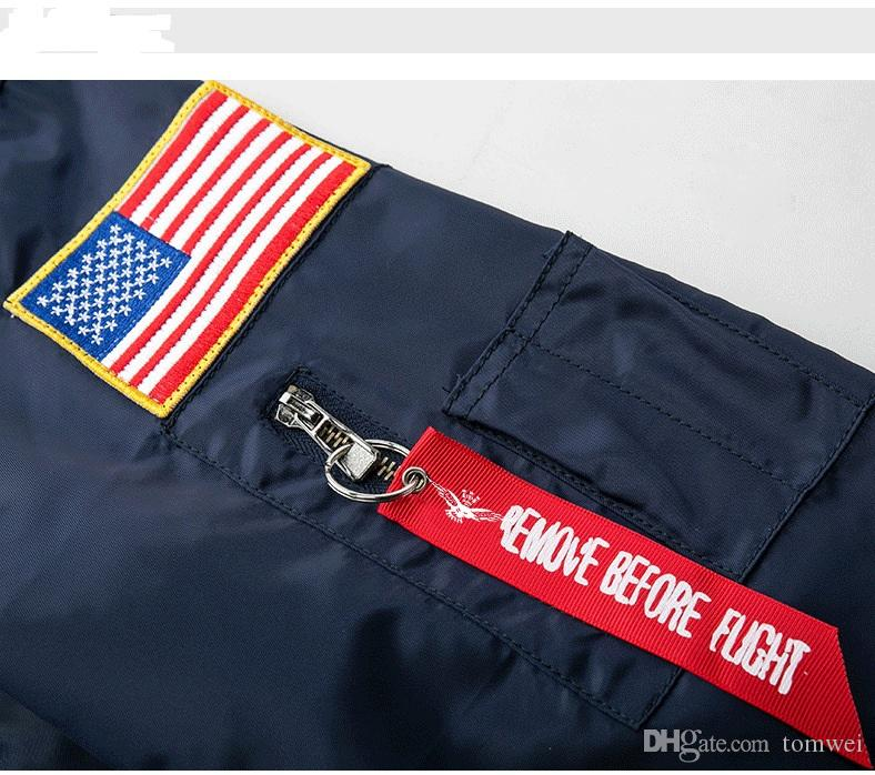 Militaire Style Vestes Pour Hommes Bomber Nasa Veste Coupe-Vent Automne Hiver Manteaux Chaud Outwear Coton Rembourré Pardessus Grande Taille