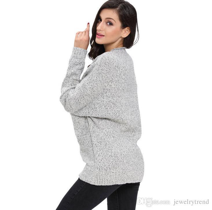 Yeni Sonbahar Avrupa Moda kadın Kazak bayan V Boyun Çapraz Uzun Kollu Örme Kazaklar Triko Kazak Tops 4 Renkler