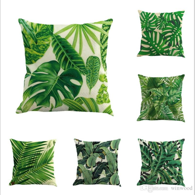 Print Cushion Cover Decoration Green Tropical Plant Tree
