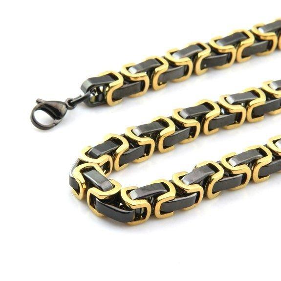 Collana di gioielli in acciaio inossidabile da uomo in acciaio inossidabile con catena a forma di quadrato nero d'oro