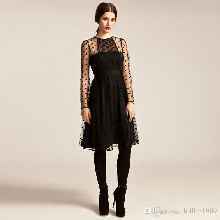 Polka Dot Fashion Sexy Round Neck Long Sleeve Good Quality Black Mesh Sexy Sheer Dress W850449