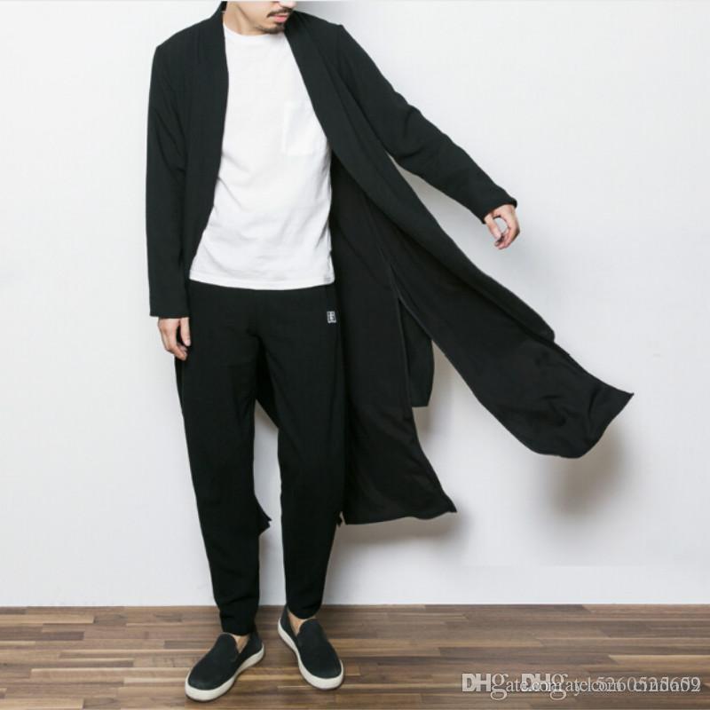 2018 China Style Mens Trench Jacket Male Spring Autumn Kimono ...