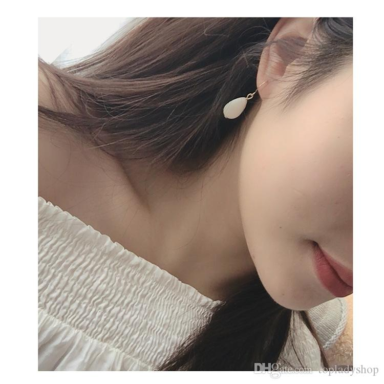 Ручные украшения ретро жемчужные прозрачные бусы серьги золотые кольца серьги Корейский простой темперамент серьги