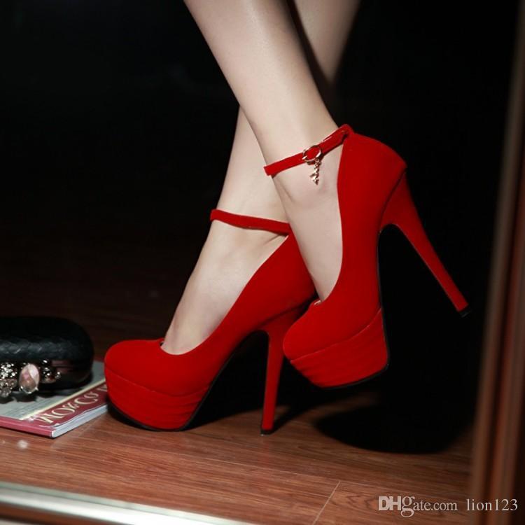Compre De Color Alto Zapatos Tacón Rojo Fahion Novia 1u3lcFTKJ