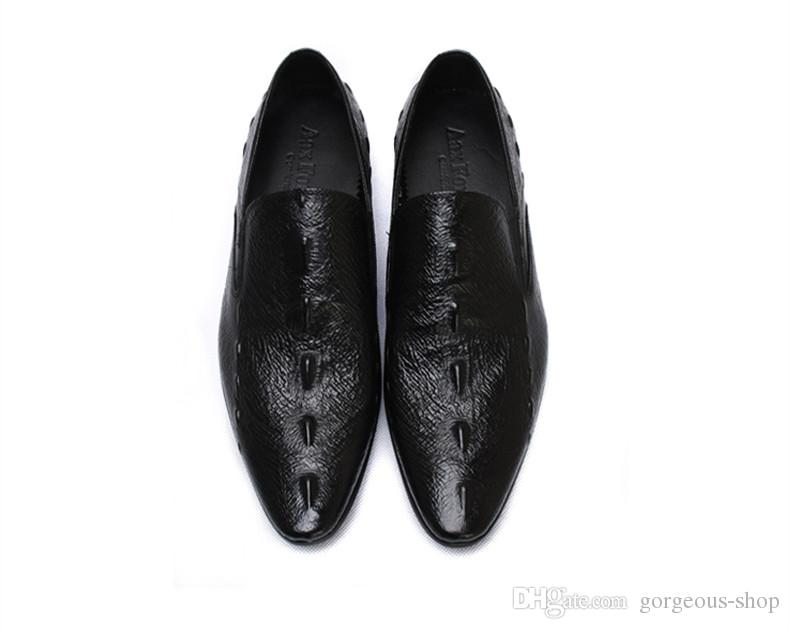 Erkekler Için yeni moda Hakiki Deri Ayakkabı İş erkek Elbise Ayakkabı Devekuşu desen
