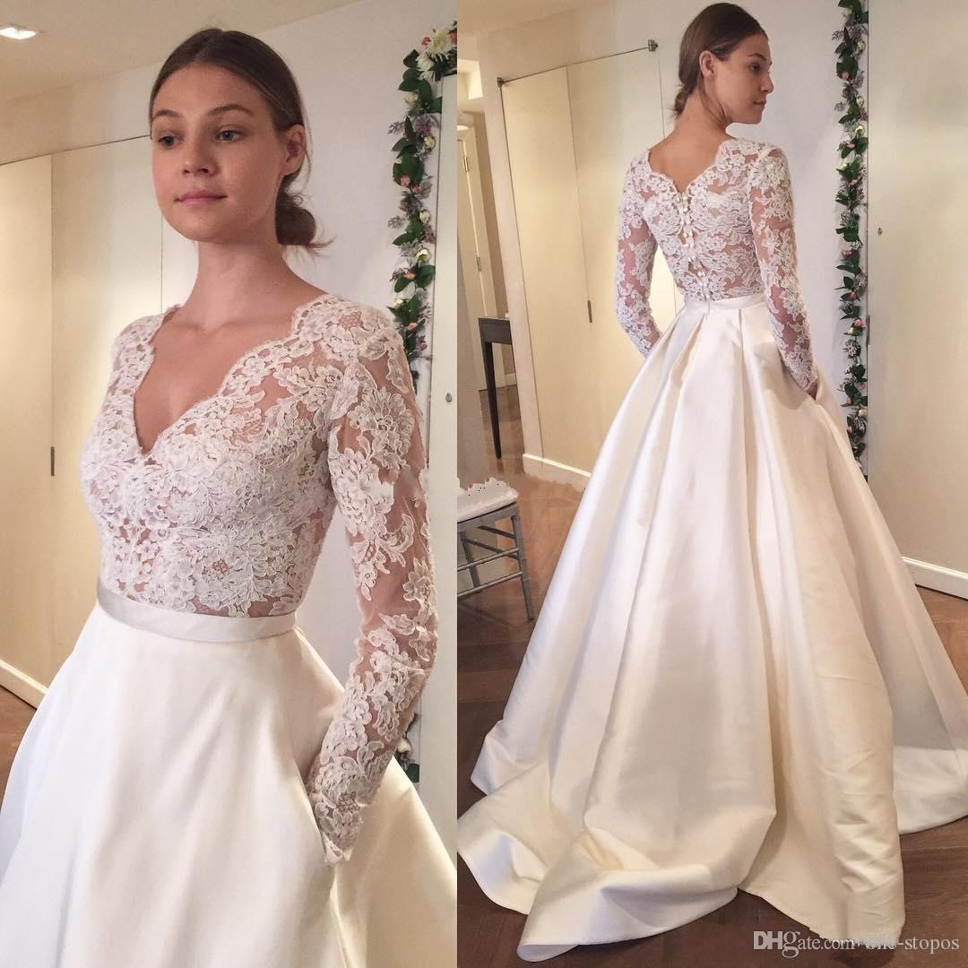 2017 Modest Long Sleeves Country Wedding Dresses with Pockets Lace V-neck Sweep Train A Line Custom Made Cheap Bridal Gowns