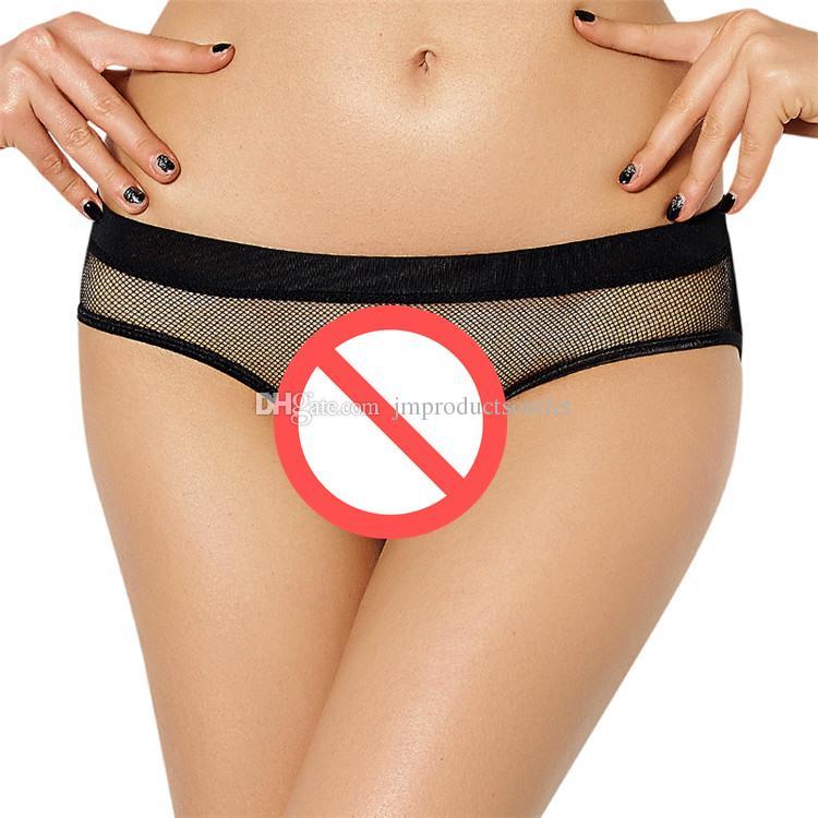 M / XL / 2XL / 3XL plus size lingerie sexy para as mulheres ver através de calcinha transparente calças abertas
