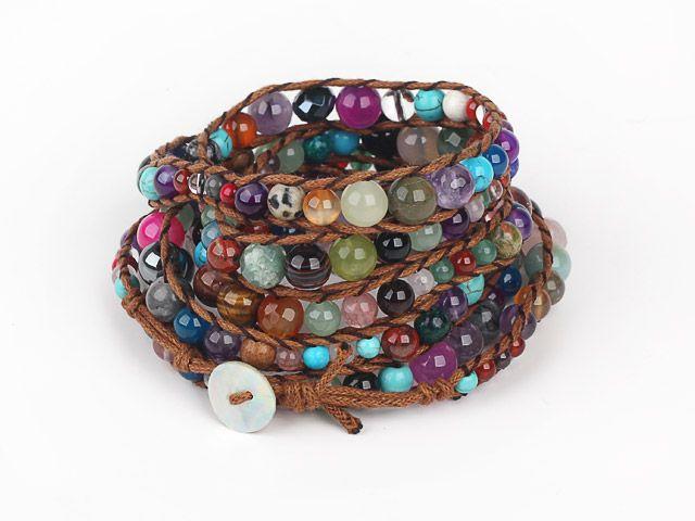 Jóias DIY Handmade tecido menina Envolto pulseira ou colar multi-camada de pedras preciosas cor trançada seção de corda