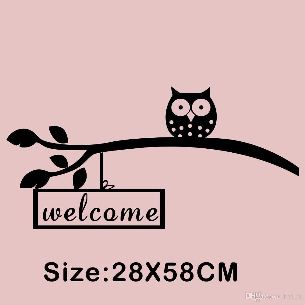 Owl on a Branch Welcome Quote Wall Stickers Art Vinyl Removable Decals for Sitting Room Decoration