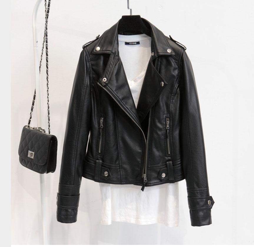 f38e5c5744f Leather Jackets Women 2016 Spring Autumn Rivet Zipper Motorcycle Faux  Leather Coat Female Paragraph Lapel PU Jacket PU Jacket Online with   32.0 Piece on ...