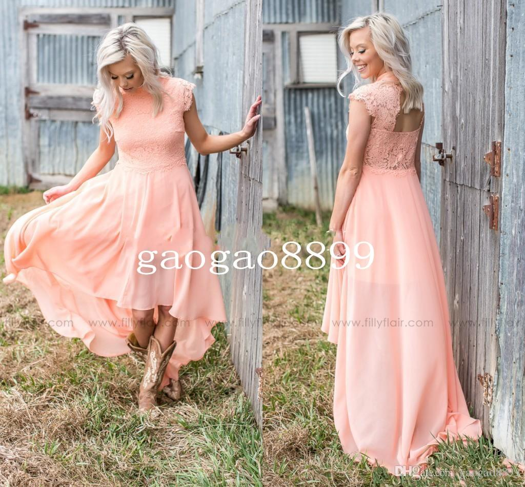 2019 Modern Peach Lace Bridesmaid Dresses for Country Wedding A-Line High Neck Hi-Lo Chiffon Bohemian Beach Party Evening Dresses DTJ
