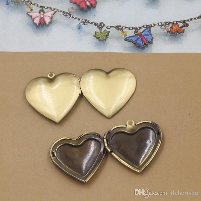 29*27*7mm Silver/antique bronze/rose gold/black gun heart photo locket cheap charms jewelry, heart-shaped picture frame pendants wish box