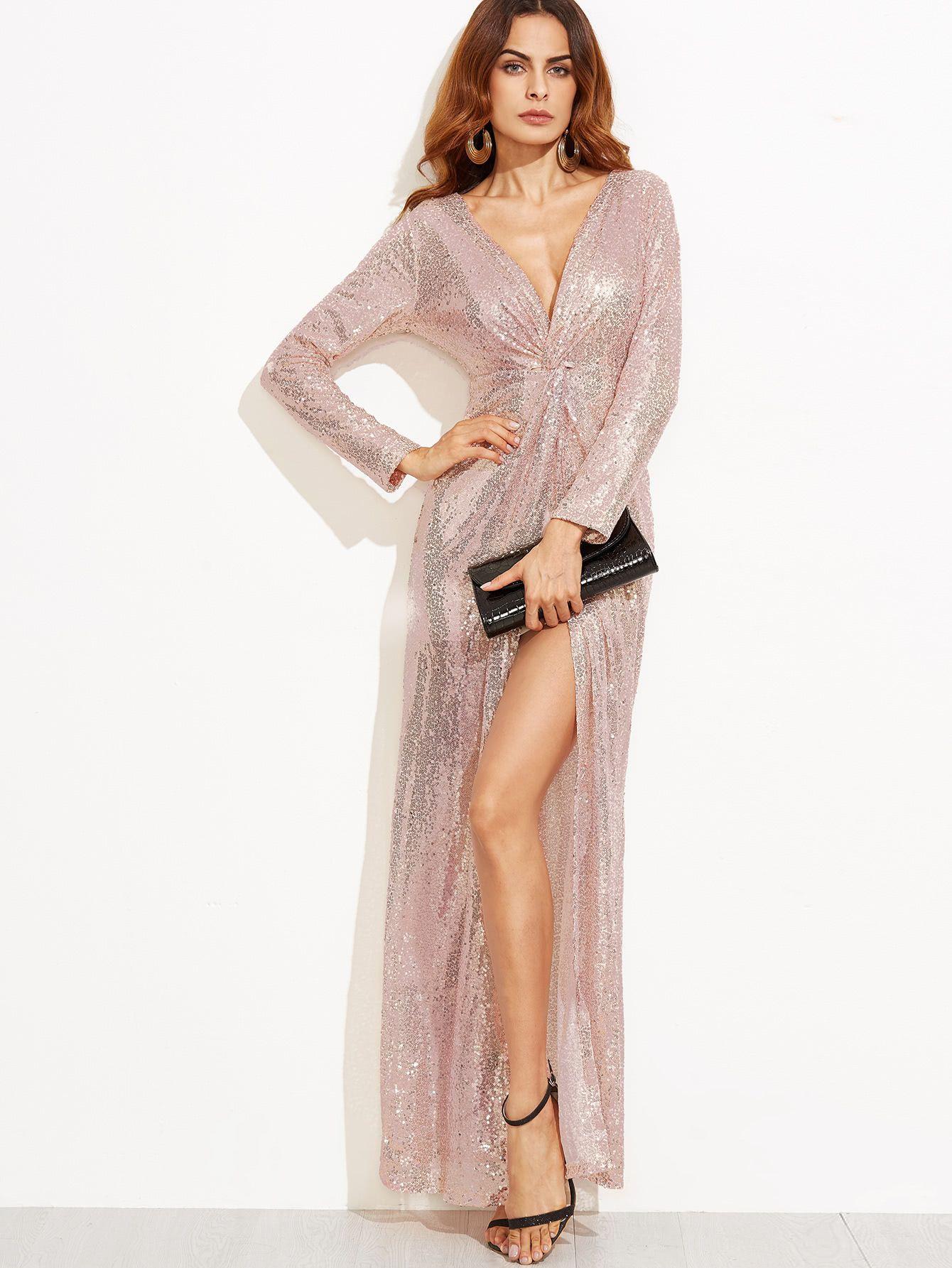 7ed2998a68c9 2017new Sexy Deep V-neck Women Rose Golden Sequin Long Sleeve Slit Maxi Dress  Party Bodycon Dress Wholesale Rose Gold Maxi Dress Sequin Slit Maxi Dress  ...
