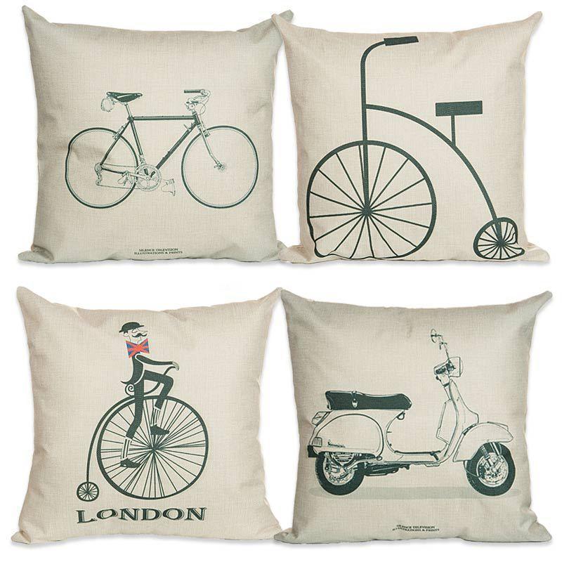 Fashion Life Pillow Cover Bike Pillowcase Tea Cojines Decorative Best Cheap Decorative Pillows For Sale