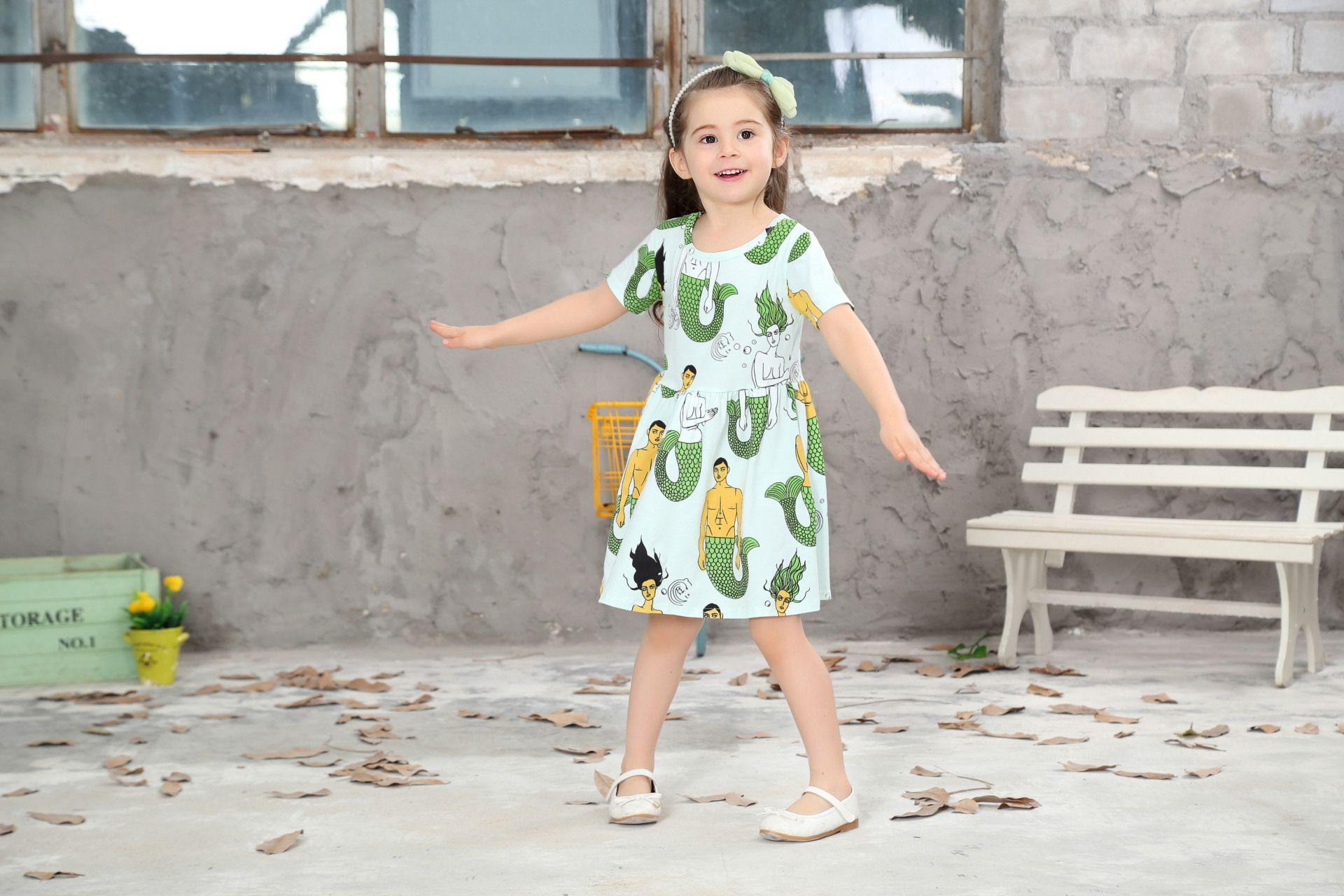 New Girls Princess Cartoon Mermaids Dress Baby Short Sleeve Cotton Round Neck Dresses For 1-9T Children Kids Shirt Pleated Dress Wholesale