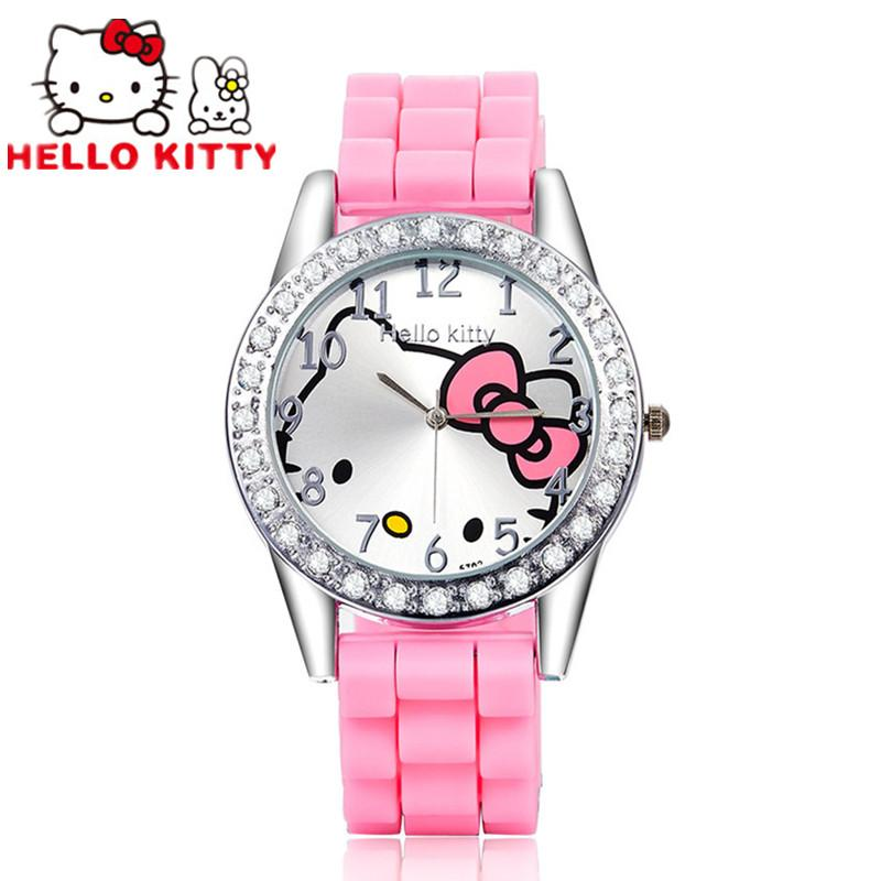 Hello kitty kids watch rhinestone cartoon watch children 39 s watches for girls jelly silicone for Watches for kids