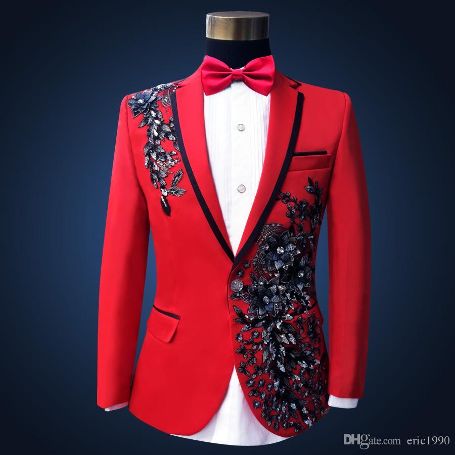 High Quality Plus Size Red Sequins Costume Men Paillette Singer Slim Performance Wedding Party Prom Suit & Blazer for Mens S-3XL
