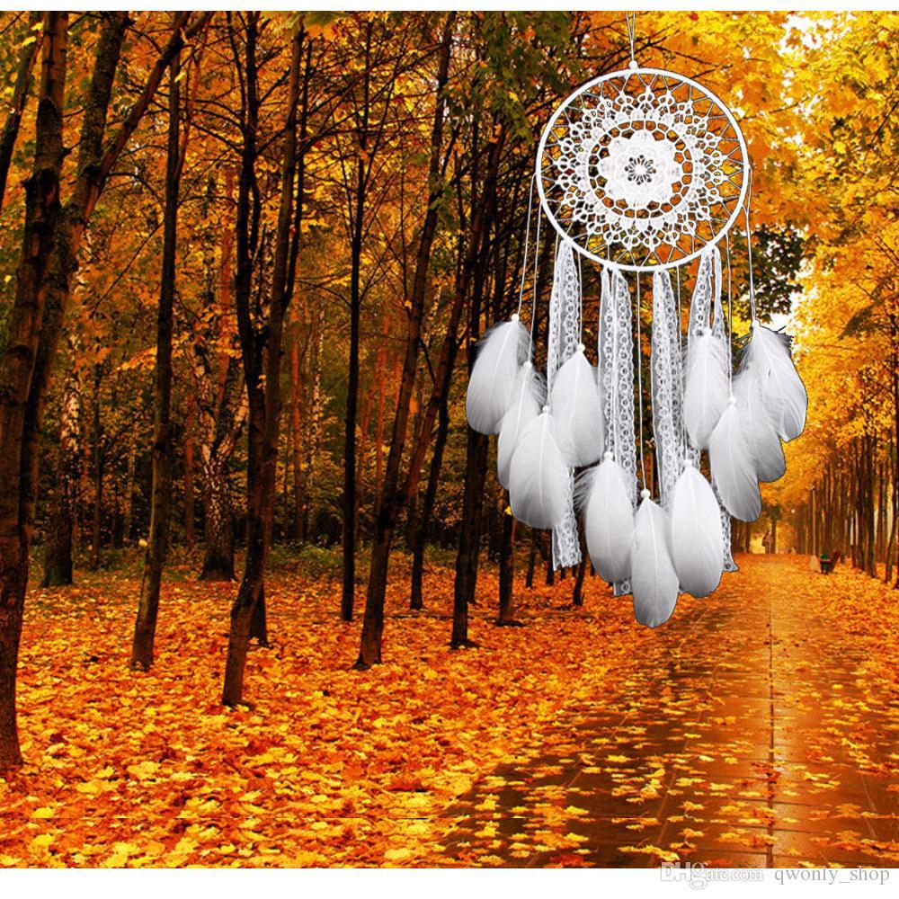 Handgemachte Spitze Dream Catcher Circular mit Federn Hängende Dekoration Ornament Handwerk Geschenk Gehäkelte White Dreamcatcher Wind Chimes