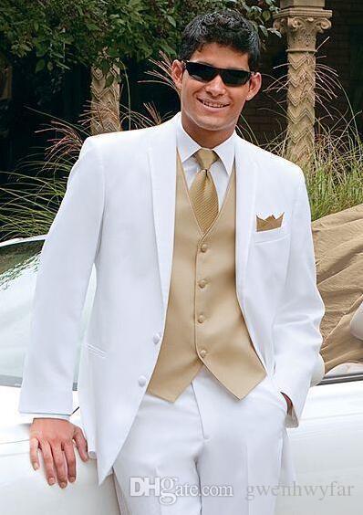 White Wedding Suits For Men Gold Vest Groom Tuxedos Custom Made Groomsmen Best Man Mens Dinner Jacket Pants Jackets