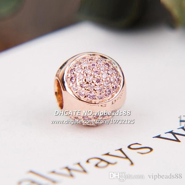 Nuovo 2017 autunno oro rosa gocce d'acqua rosa cz perle di fascino pandora braccialetti di fascino perline monili che fanno