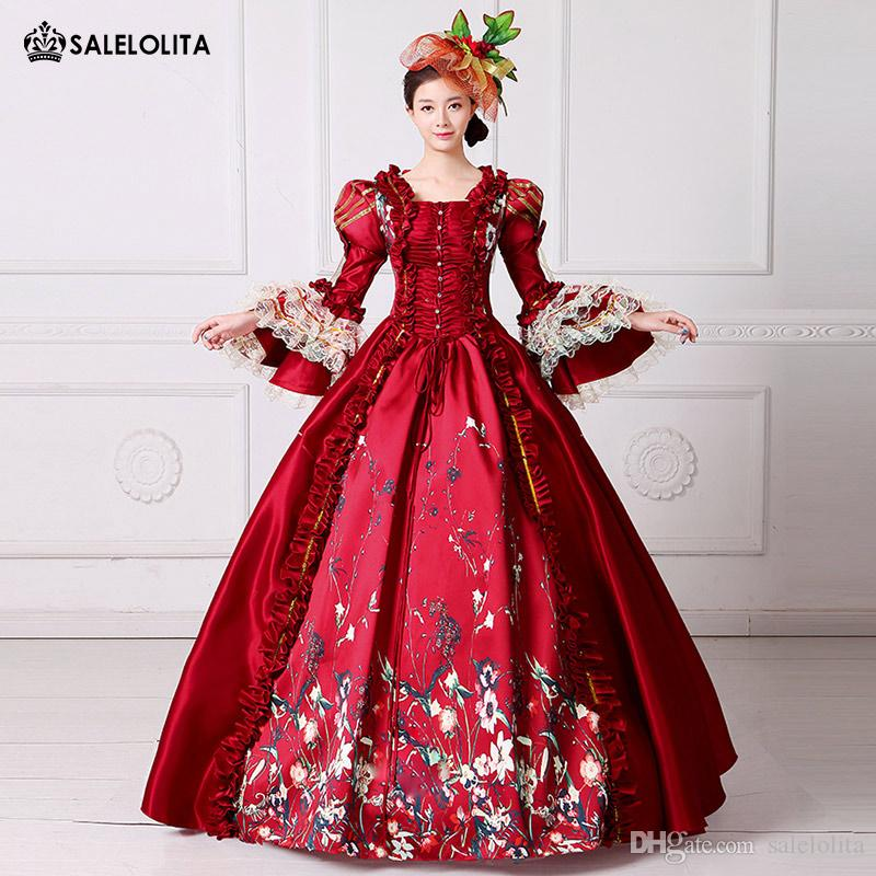 390cc9b037 2017 Brand New Red Lace Printed Marie Antoinette Dress Southern Belle Victorian  Period Ball Gown Reenactment Women Clothing Costume Parties Group Halloween  ...