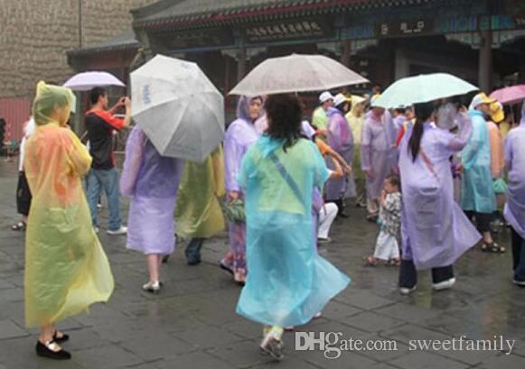 New PE Disposable One Time Raincoats Poncho Rainwear Fashional Travel Rain Coat Rain Wear gifts mixed colors
