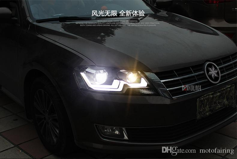 Dedicated to the for new Sun Yat headlamp assembly Lang Lang Long line modified LED daytime running lights Double light lens Xenon lights