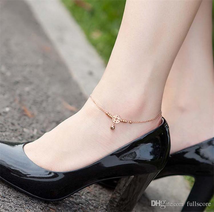 HOT 리틀 벨 앵클 팔찌 로즈 골드 티타늄 스틸 여성 여자 애인 맨발 발목 패션 발 체인 쥬얼리